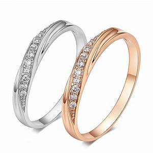 Top quality simple cz diamond lovers ring wedding ring 18k for Best quality wedding rings