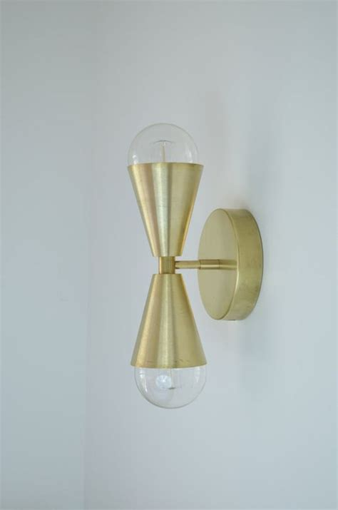 Mid Century Modern Bathroom Sconces by Madonna Modern Mid Century Solid Brass Cone Light Ul