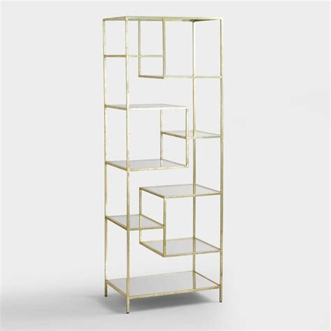 metal and glass bookcase burnished metal and glass asymmetrical kali shelf world