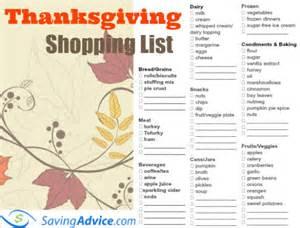 thanksgiving dinner printable shopping list savingadvice saving advice articles
