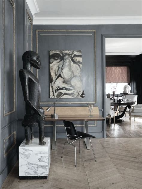 A Contemporary Villa With A Parisian Twist by Parisian Entrance With Grey Walls Foyer Entry Mud