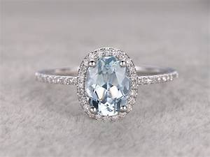 natural blue aquamarine ring engagement ring white gold with With wedding rings gemstones