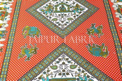 orange base jaipur doli design  elephant print single