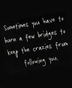 Sometimes You Have to Keep a Burn to the Crazies Few Bridges