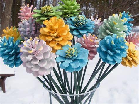 pine cone flowers original spring painted pine cones
