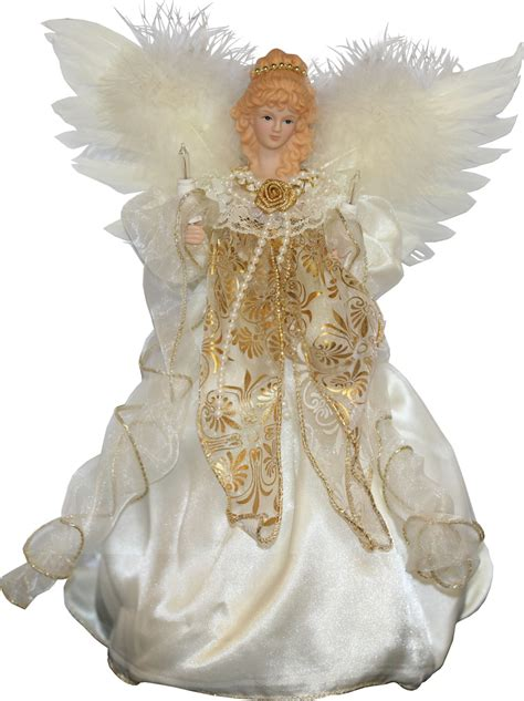 christmas decorations  ivory  gold angel treetopper