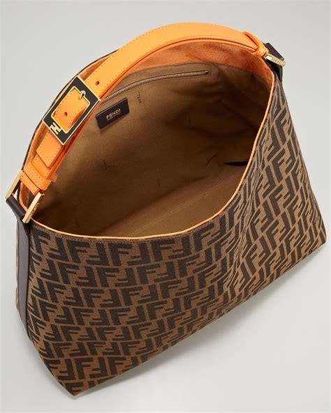 lyst fendi zucca large hobo bag  brown
