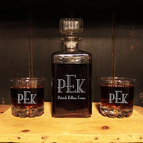 personalized barware gifts monogrammed glass whiskey decanter set barware
