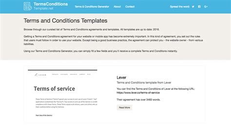 Terms And Conditions Template + Generator