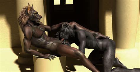 Rule 34 3d Anubis Deity Fellatio Furry Gay Male Oral