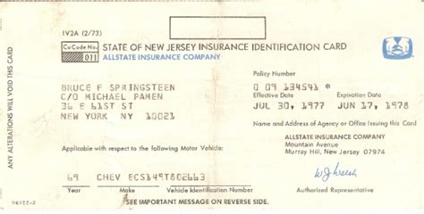 Use this card to register your vehicle or keep it in your car as proof of insurance for law enforcement. New Jersey Automobile Insurance Codes