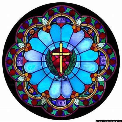 Glass Window Windows Cross Rose Stained Church