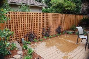 lattice fence design completes a garden decoration