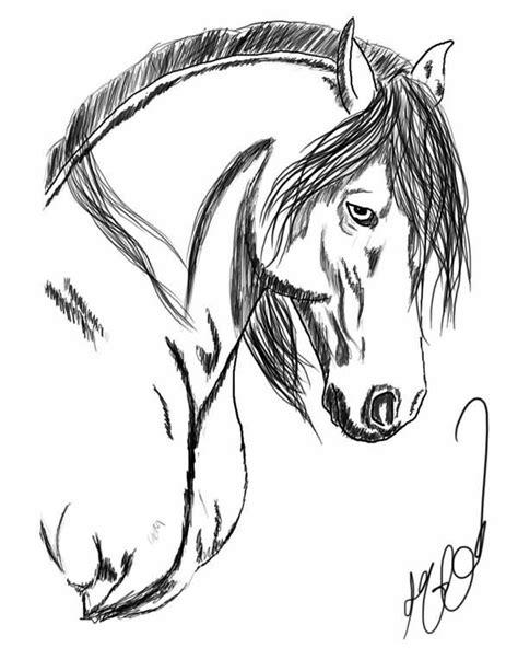 Shaded Horsehead Tattoo Design