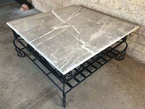 large square coffee table with heavy wrought iron base and With large square marble coffee table