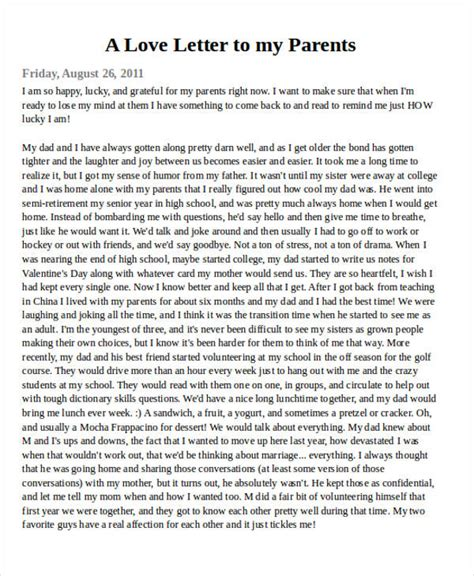 letter to my parents 36 letter exles sle templates