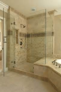 Bathroom Tile Trim Ideas Another Exle Of Shower Bench Joining Tub Surround Note The Tile Accent In The Shower And