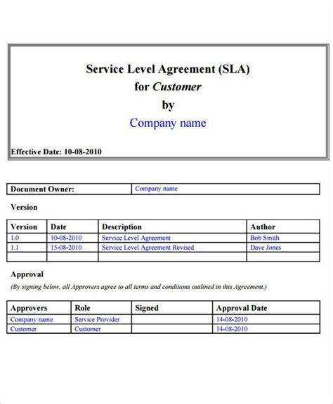service level agreement templates  word