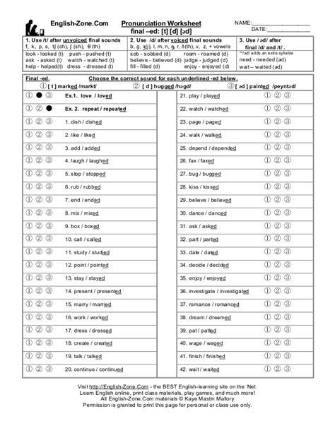 english zone com pronunciation worksheet name
