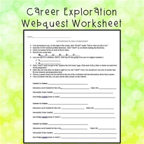 Career Exploration Worksheet By The Happy School Counselor Tpt