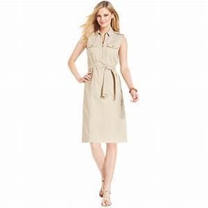 Dressing New York : lyst jones new york signature petite sleeveless zippered belted dress in natural ~ Dallasstarsshop.com Idées de Décoration