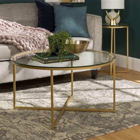Vasagle round side table, tempered glass end table with golden metal frame, small coffee table, bedside table, living room, balcony, robust and stable, decorative, gold ulgt20g 4.5 out of 5 … Walker Edison 2 Piece Round Coffee Table Set Glass Gold in 2020 | Glass table set, Round coffee ...