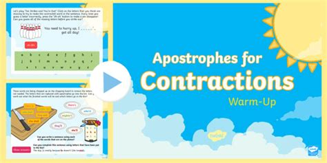 year 2 apostrophes for contraction warm up powerpoint spag