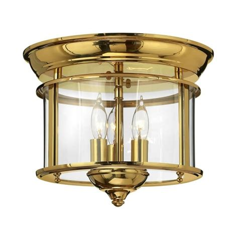 traditional flush mount ceiling lantern in polished brass