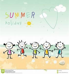 Beach Doodle Art For Kids Vector Illustration ...