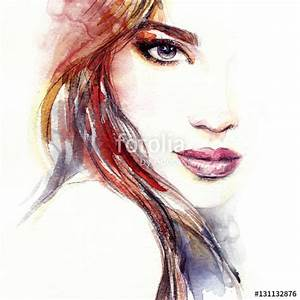"""""""Abstract woman face. Fashion illustration. Watercolor ..."""