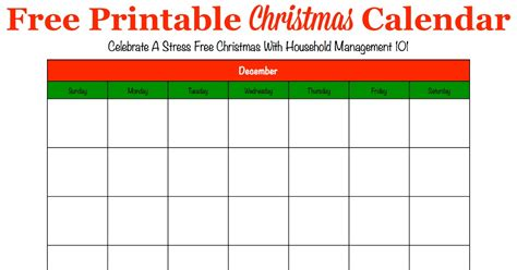 printable christmas calendar  december