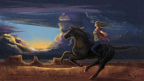 foto pferde freedom maedchens malerei tiere wolke gezeichnet
