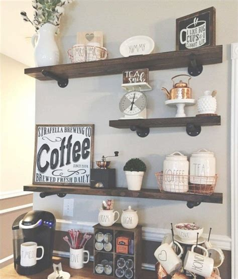 I was thinking that i would like to do lower cabinets and upper cabinets with a wine rack as shown in the drawing. 46 Best Rustic Farmhouse Floating Shelves Decor Ideas ...