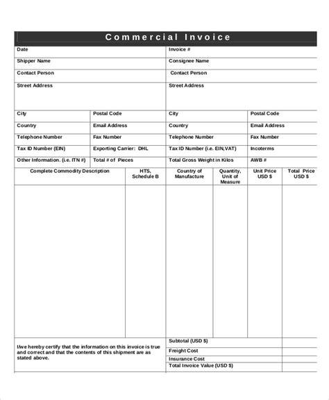 commercial invoice examples samples  google docs