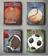 Sports Themed Bedroom Accessories Wall Decor Sports Set Of 4 Canvas Art Sports Room Decor Canvas Art