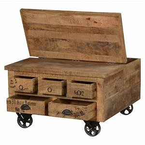 industrial style solid wood square storage trunk 5 drawer With trunk type coffee tables