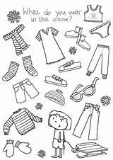 Coloring Preschool Winter Kindergarten Activities Clothing Themes sketch template