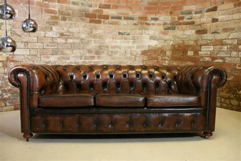 vintage chesterfield antique brown leather 3 seater sofa