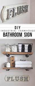 31 brilliant diy decor ideas for your bathroom for What kind of paint to use on kitchen cabinets for industrial chic wall art