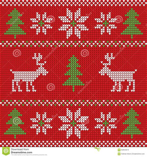 'tis the season for christmas sweaters and pajamas! Red Knitted Christmas Sweater With Deer And Signs Seamless ...