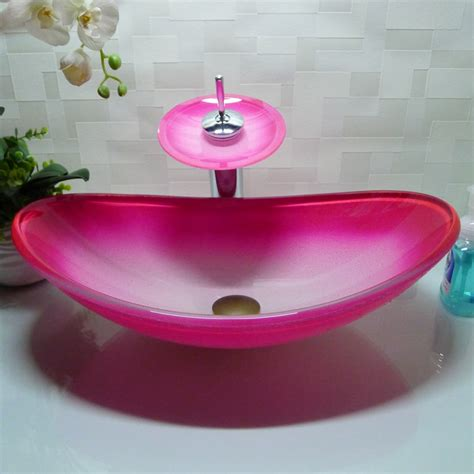 oval bathroom tempered glass pink counter top wash basin cloakroom hand painting  counter