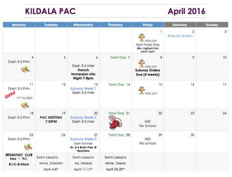 pac april newsletter calendar kildala elementary school