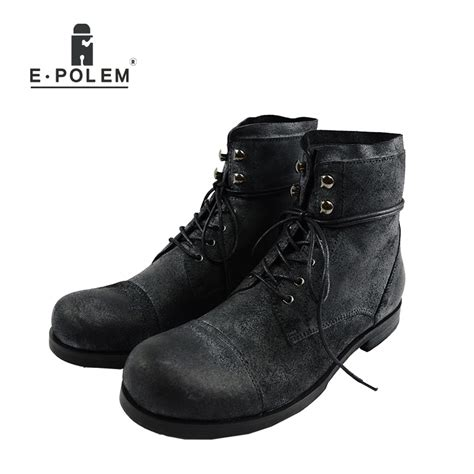 Men Fashion High Top Military Desert Boots Male Cow