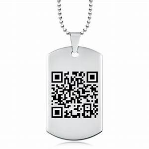 qr code dog tag stainless steel personalised With qr code dog tag
