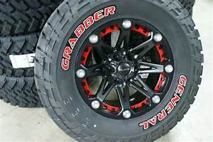 35x1250 18 general grabber red letter tire rim package With nitto tires with red lettering