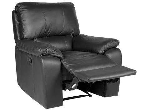 fauteuil relaxation manuel en cuir vicky coloris noir