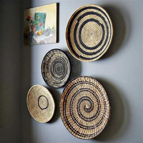 modern wall decoration  ethnic wicker plates bowls  baskets