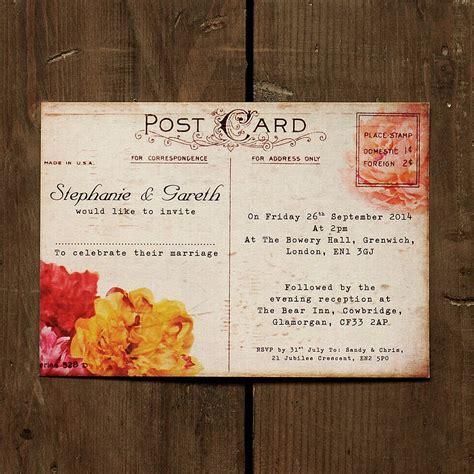 postcard invitation floral vintage postcard wedding invitation by feel wedding invitations notonthehighstreet