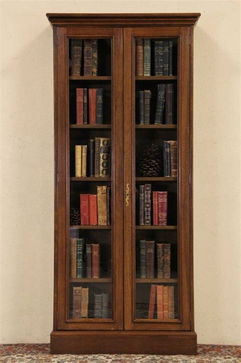 Book Cabinets With Doors by Oak Vintage Bookcase Or Display Cabinet Glass