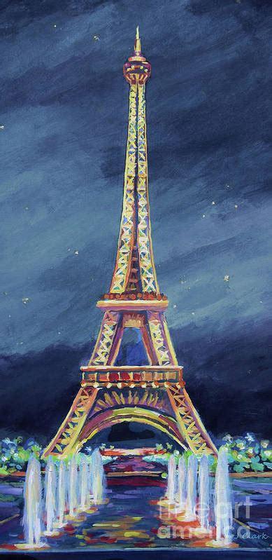 eiffel tower  night art print  john clark